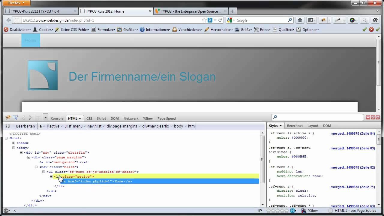 TYPO3-Tutorial 2012-21 - HTML-Vorlage in TYPO3 integrieren - Teil 8 ...