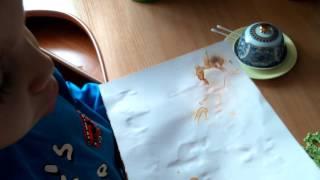 Елисей проводит эксперимент с бумагой и лимоном)