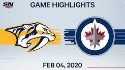 NHL Highlights   Nashville Predators vs. Winnipeg Jets – Feb. 4, 2020
