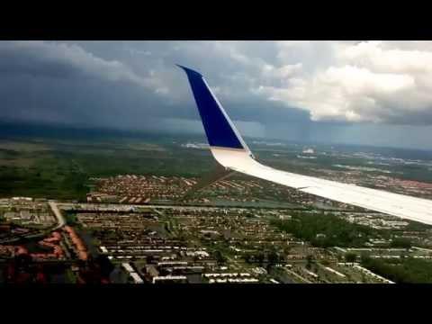 Daytime landing at Palm Beach International Airport in West Palm Beach, Florida