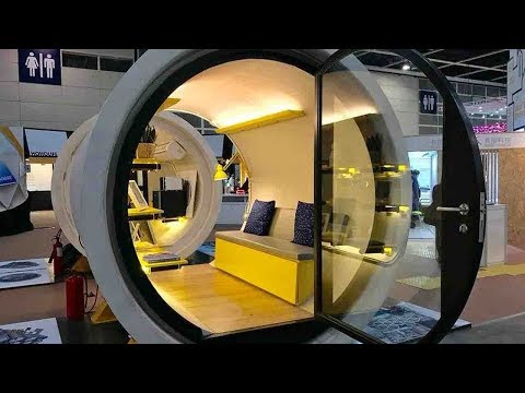 Micro-apartments in giant concrete drainage pipes