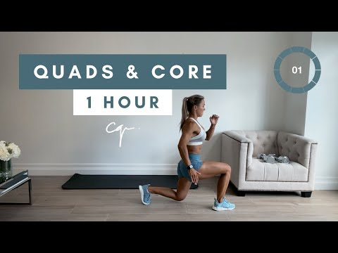 1 Hour QUADS AND CORE WORKOUT at Home | Day One of Five