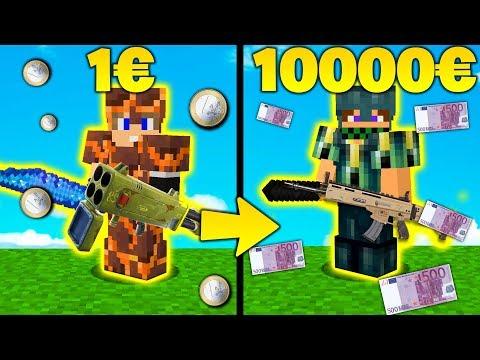 EQUIPAGGIAMENTO 10000€ vs 1€ - SCAR vs LANCIARAZZI QUADRUPLO - Minecraft ITA