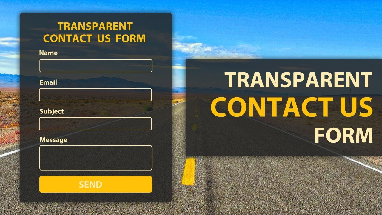 Transparent Contact Us Form Using Html And Css