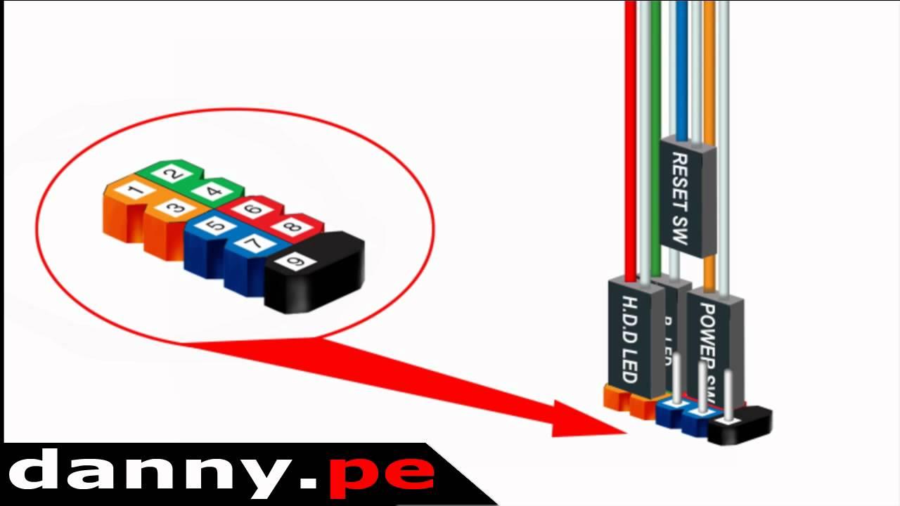 Motherboard Wiring Diagram Power Reset 89 Mustang Alternator Conexión Del Panel Frontal De La Pc - Youtube
