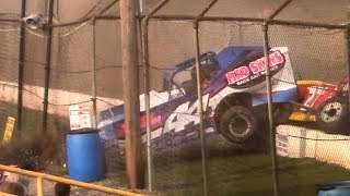 Modified crashes into flagstand | Genesee Speedway | 9-17-17