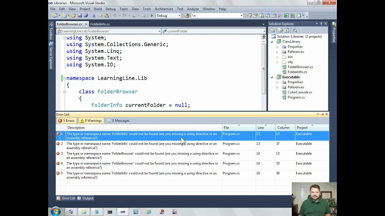 Moving C# files into a class library