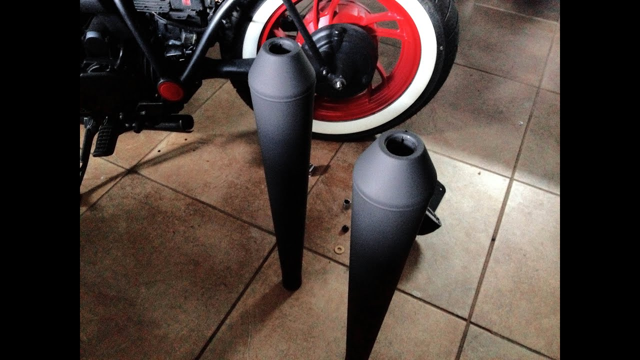 Painting The New Bobber Exhaust Pipes Flat Black