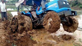 ट्रेक्टर फसा अब निकलेगा#Sonalika in Rotavator puddling#tractor stuck in heavy mud#amging tractor
