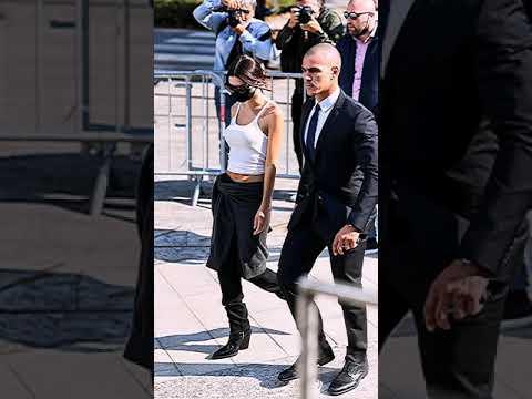 Emily Ratajkowski wearing paris texas rodeo boots– Arrives at Versace Fashion Show in Milan 2021