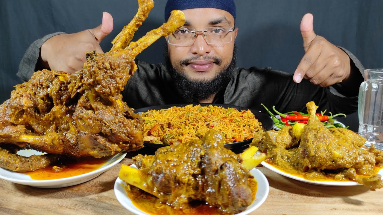 SPICY MUTTON CURRY, SPICY DUCK CURRY, FULL CHICKEN ROAST, CHILLI AND RICE | ASMR MUKBANG VIDEOS