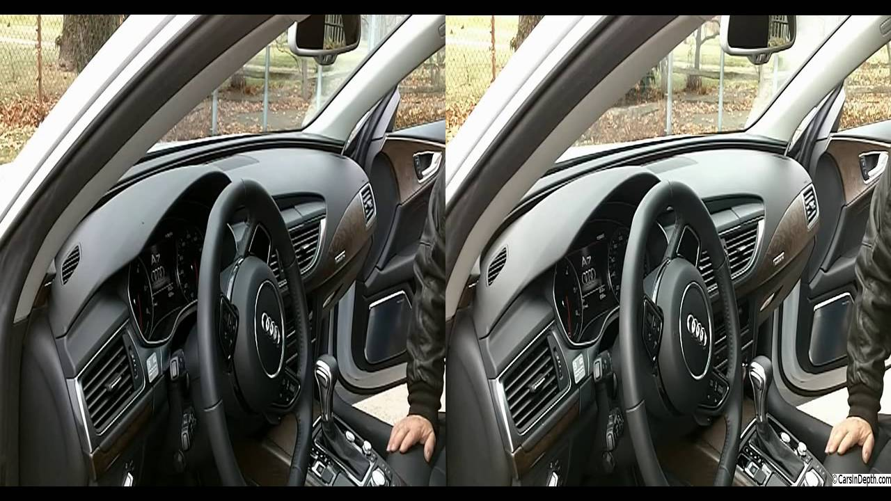 2014 Audi A7 TDI Dashboard Power Up, Screen & Stereo Speakers Rise  CarsInDepth com 3D Video