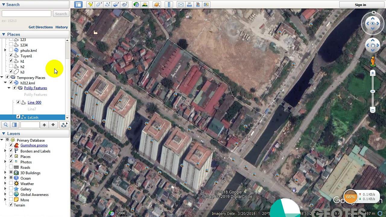 Chuyển hệ tọa độ trong Google Earth sang VN2000, Lấy đối tượng trên Google Earth sang VN2000