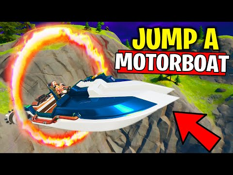 JUMP A MOTORBOAT THROUGH DIFFERENT FLAMING RINGS LOCATION In Fortnite