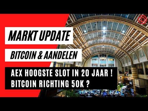 Aex Hoogste slot in 20 jaar ! Bitcoin richting 50K ?   Koers Update Bitcoin & Aandelen !
