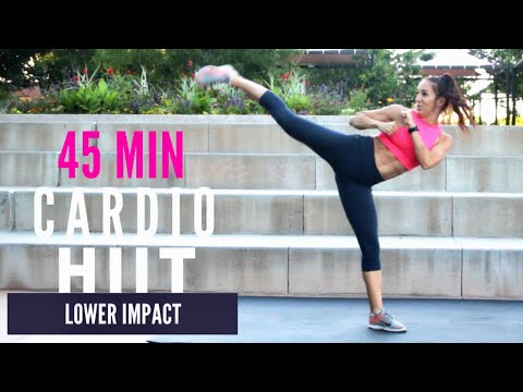 INTENSE FUN LOWER IMPACT Cardio HIIT || 45 Min FULL BODY Workout || Cardio Kickbox + WARM UP/ COOL