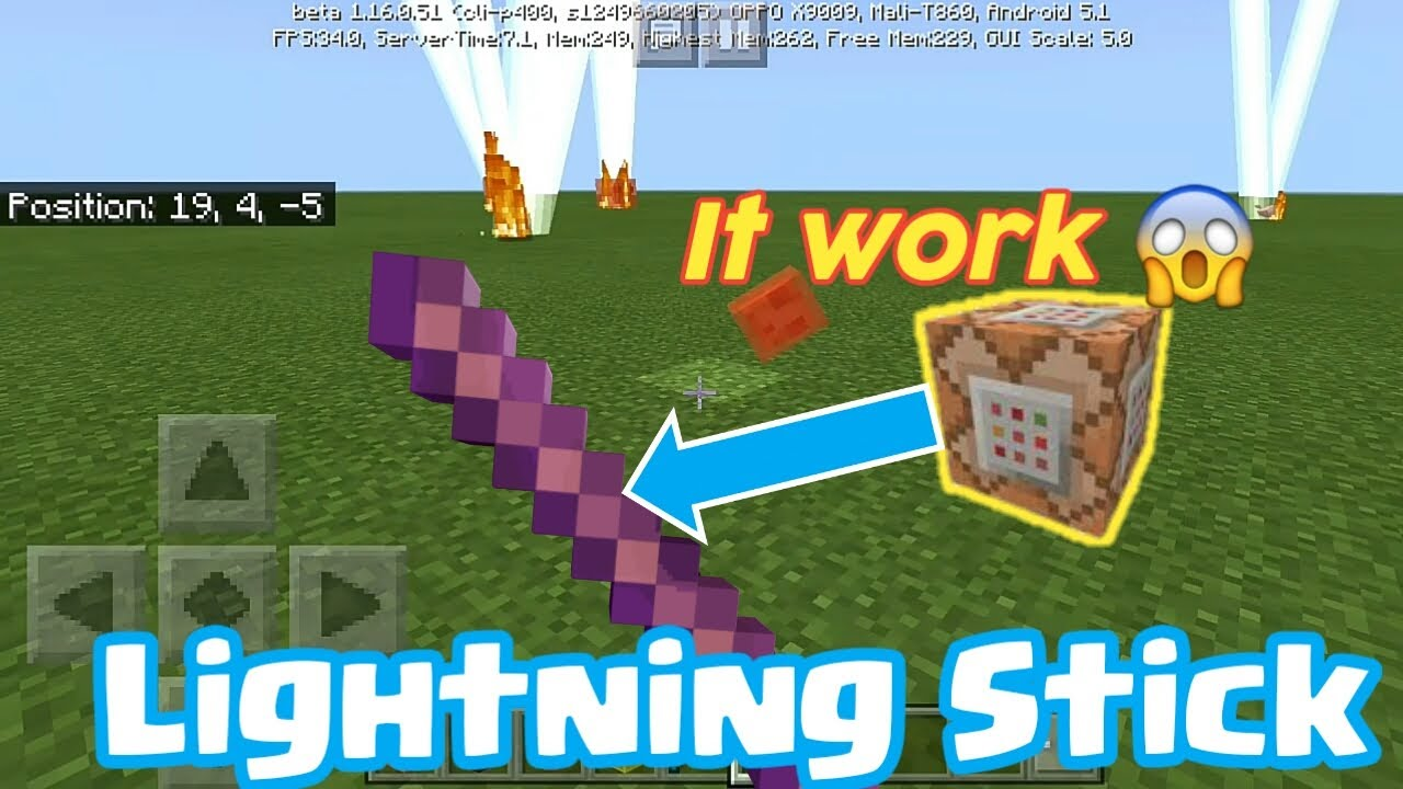 How to make a Lightning Stick in Minecraft using Command Block Trick
