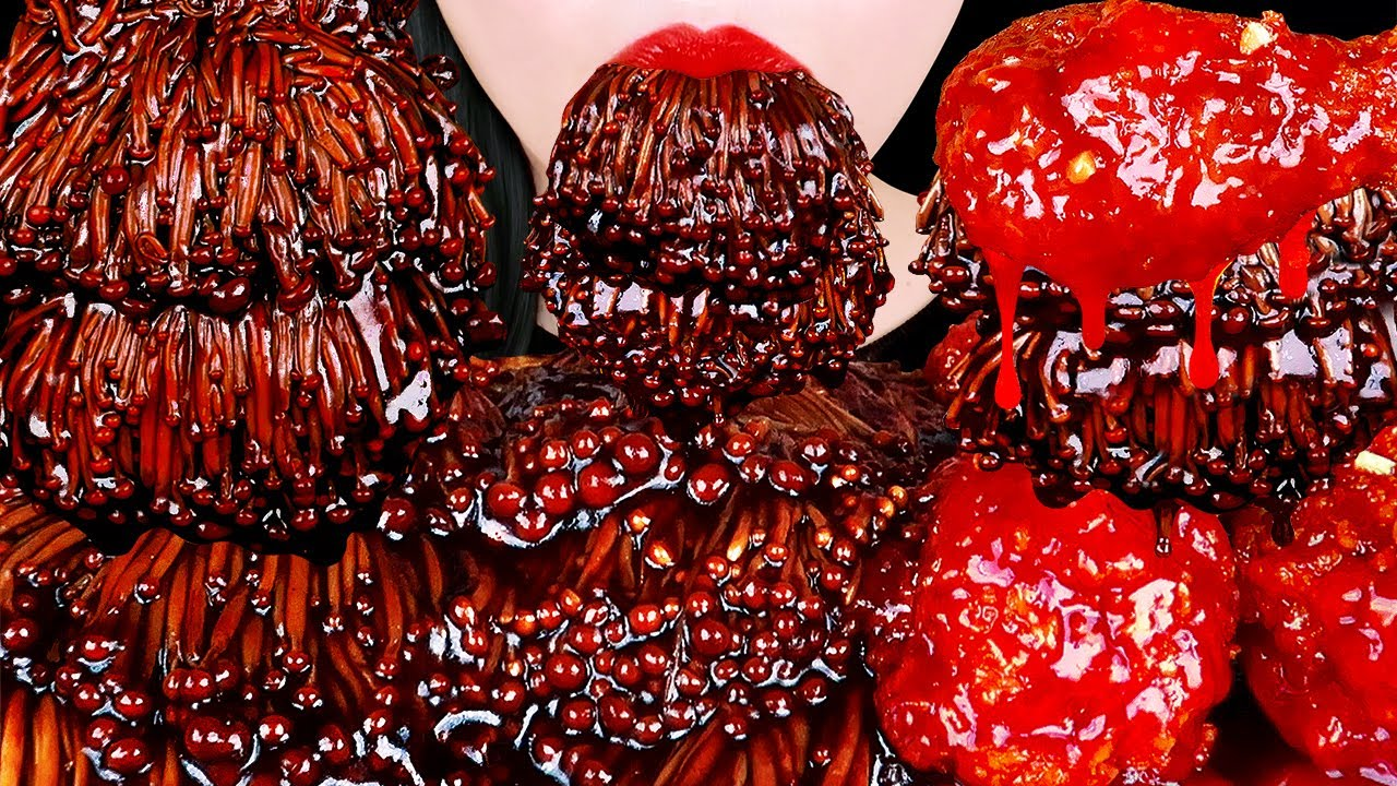 ASMR BLACK BEAN ENOKI MUSHROOMS, SPICY CHICKEN 짜장팽이버섯, 양념치킨 먹방 EATING SOUNDS MUKBANG 홍유 먹방