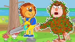 Lion Family 🌴 Daddy and Woodsman Cartoon for Kids