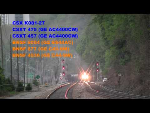 CSX Coal and Oil Train with BNSF Engines Charleston, WV [HD]