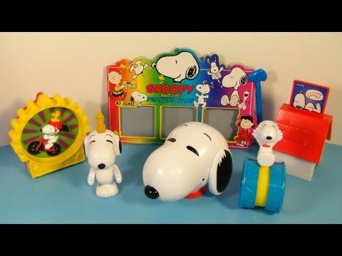 1998 SNOOPY and THE PEANUTS GANG SET OF 6 WENDY'S KID'S MEAL TOY'S VIDEO REVIEW
