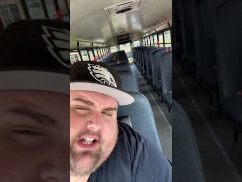 FAT BUS DRIVER CLIMBS IN SCHOOL BUS EMERGENCY EXIT!