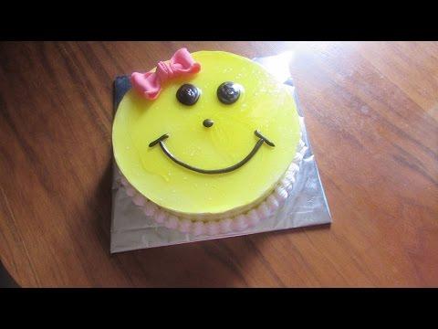 smiley-cake---black-forest-cake-for-children,-birthday-cake-recipe-for-girls-[hindi]