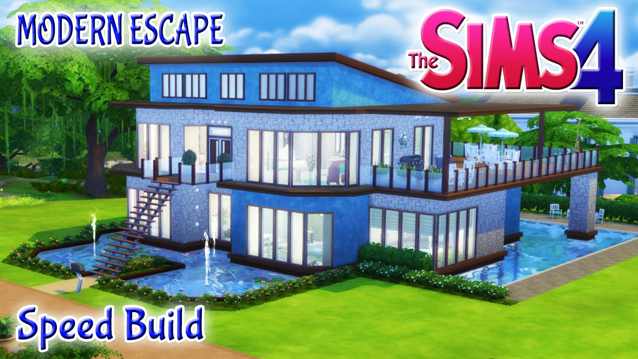 Sims 4 house build modern escape family home with pool for Pool designs sims 4