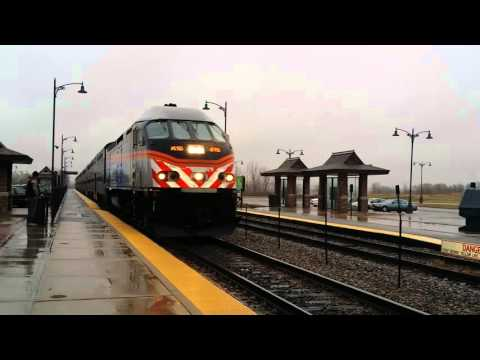 Metra MP36-3S 415 pulls outbound rush hour train number 2131 through Grayslake on 3/23/16