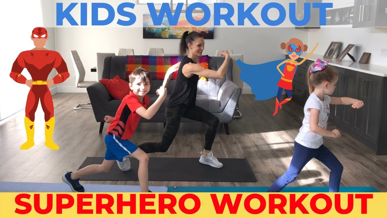 Kids Workout At Home Superhero Workout For Kids Youtube Kid Workout Routine Exercise For Kids Superhero Workout
