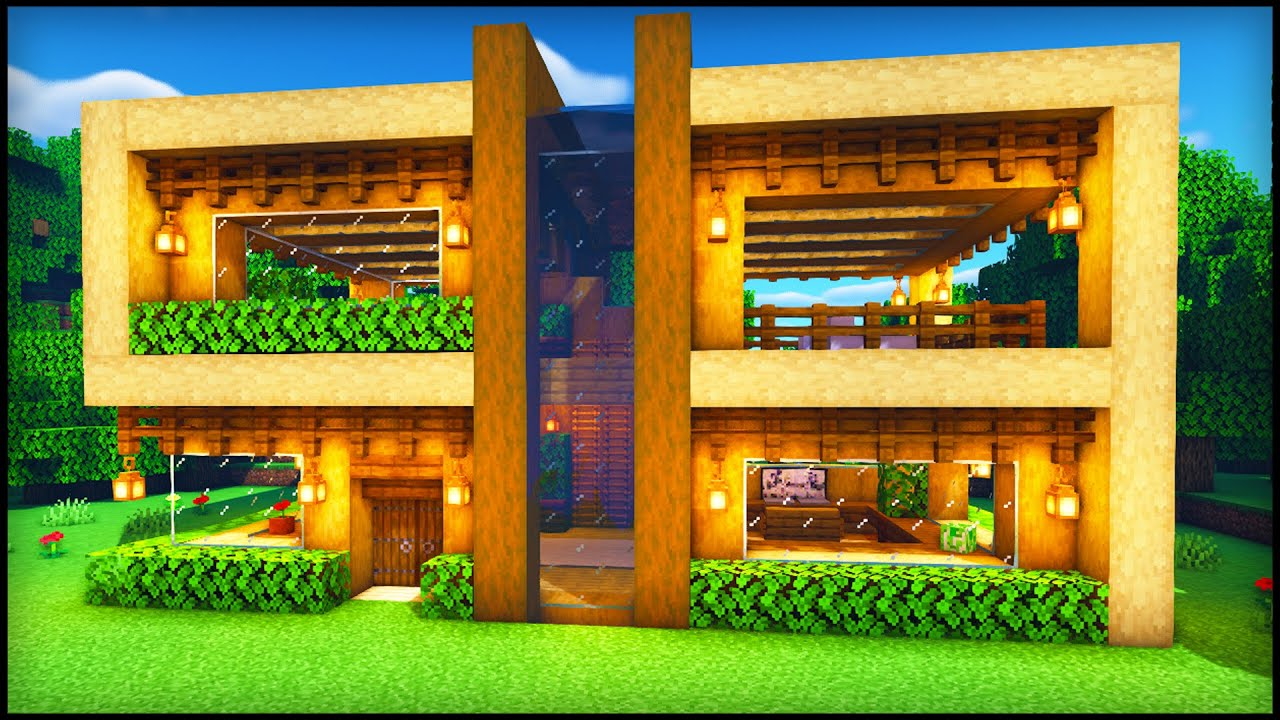 Minecraft Wooden Modern House: How to build a Cool Modern House Tutorial