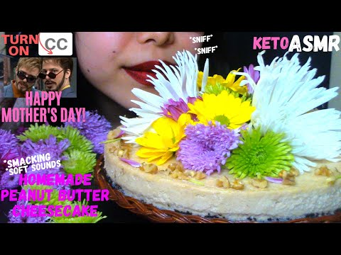 asmr-|-peanut-butter-cheesecake-edible-flowers-smacking-soft-sounds-|-no-talking-먹방-(eating-sounds)