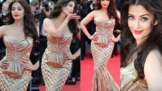 Aishwarya Rai CANNES 2014 Red Carpet GOLD GOWN STUNNING HD | Sonam Kapoor