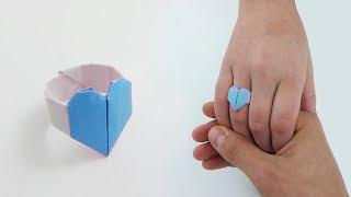 LOVE RING ORIGAMI Tutorial - Step by Step Instructions. Gấp nhẫn tình yêu mùa Valentine