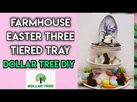 Farmhouse Easter Three Tiered Tray / Dollar Tree DIY