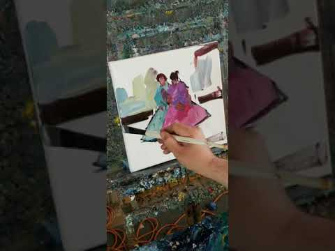 Oi painting Demo Impressionism Two People – Artist  Jose Trujillo