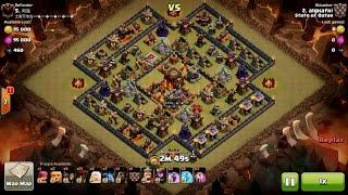 Clash of Clans TH10 vs TH10 Healer, Lava Hound & Balloon (Queen Walk) Clan War 3 Star Attack