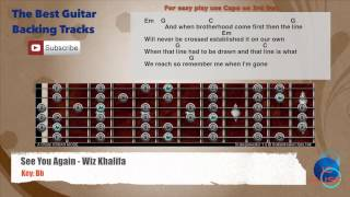 See You Again - Wiz Khalifa ft. Charlie Puth Guitar Backing Track scale, chords and lyrics