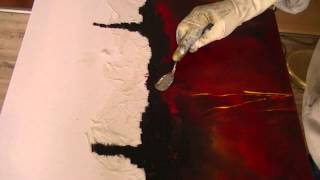 Repeat youtube video Abstrakte Malerei, Grillkohle, Painting abstract with charcoal