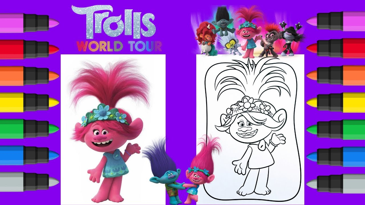Coloring Poppy Trolls World Tour Coloring Book Pages - YouTube