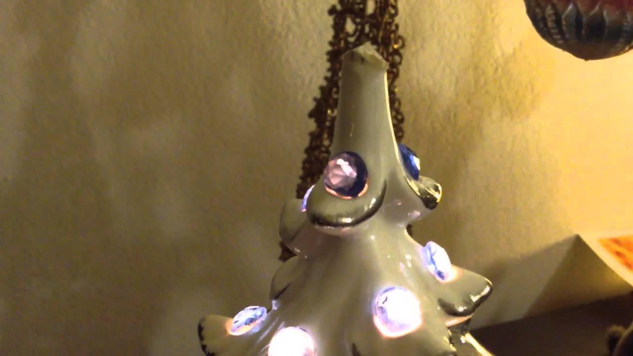Vintage White Ceramic Musical. Lighted Christmas Tree 16