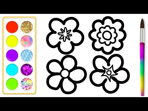 how-to-draw-a-flower-for-kids-🌸💚🌼💜-flower-drawing-|-flower-coloring-book-pages-for-kids