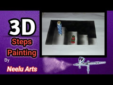 3D sellar steps painting step by step with Air brush by Neelu arts