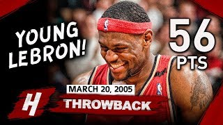 Young LeBron James CRAZY Full Highlights vs Raptors 2005.03.20 - 56 Points, 1st 50+ Game!