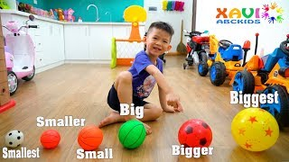 Learn sizes balls for kids!!! Baby Xavi playing soccer ball with daddy so funny