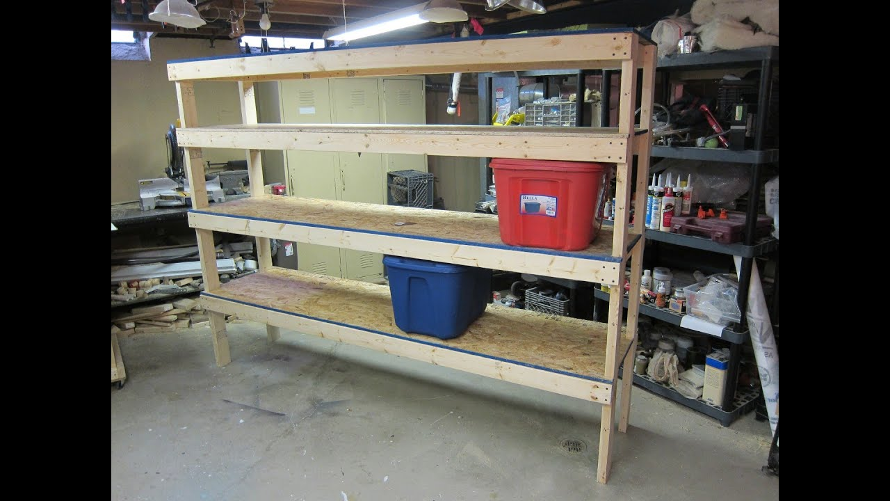 Storage Shelf - Cheap and Easy Build Plans - YouTube on diy stainless steel shelves, diy gardening shelves, diy garage windows, diy ideas to organize your room, diy garage tables, diy wood workbench with storage, diy garage racks, diy storage shelf, diy paper shelves, garage workbench with shelves, diy garage shelves plans, diy homemade bathroom storage ideas, diy garage stools, organize garage shelves, diy garage shelves 2x4, diy garage workbench, diy floating shelves, diy garage chairs, diy garage hooks, diy home decor shelves,