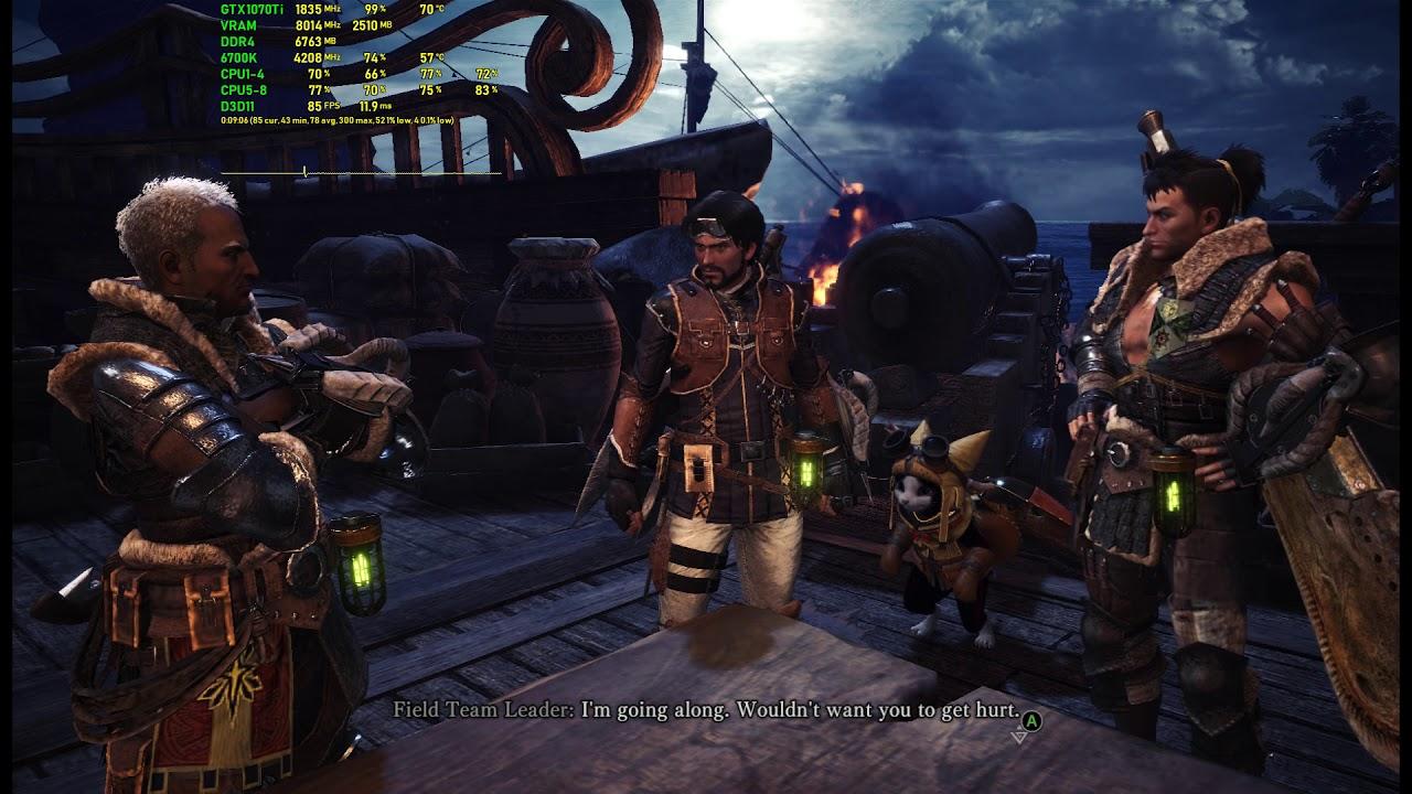 Monster Hunter: World - Gameplay FPS Test - GTX 1070 Ti + i7-6700k Max 1080p