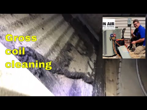 Evaporator coil cleaning - Dirty coil getting cleaned
