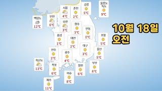 [날씨] 21년 10월 18일  월요일 날씨와 미세먼지…