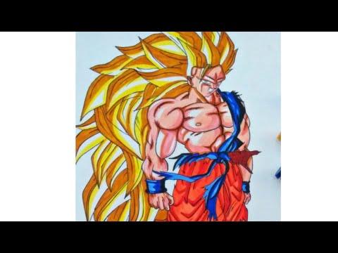 How to draw Goku super Saiyan 3 full body (easy drawing)-art vedio